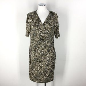 Ralph Lauren XL 12 14 Black Beige Sheath dress